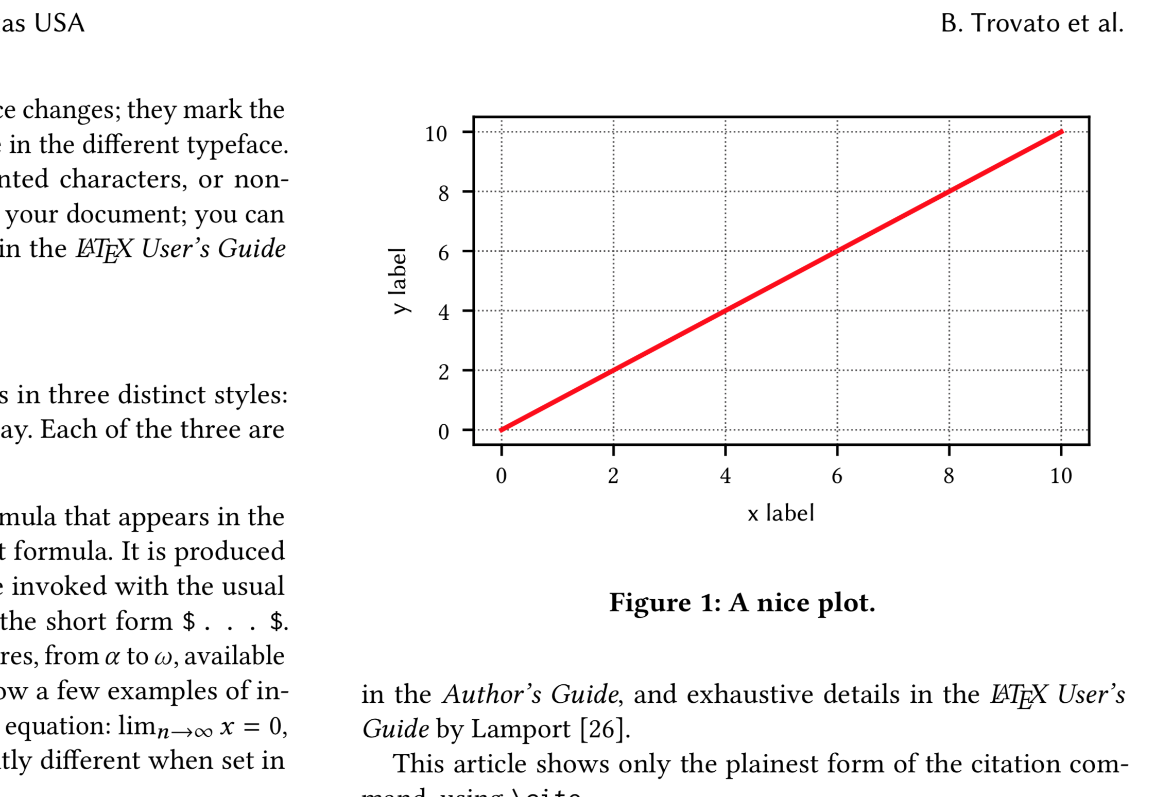 plot in a LaTeX document