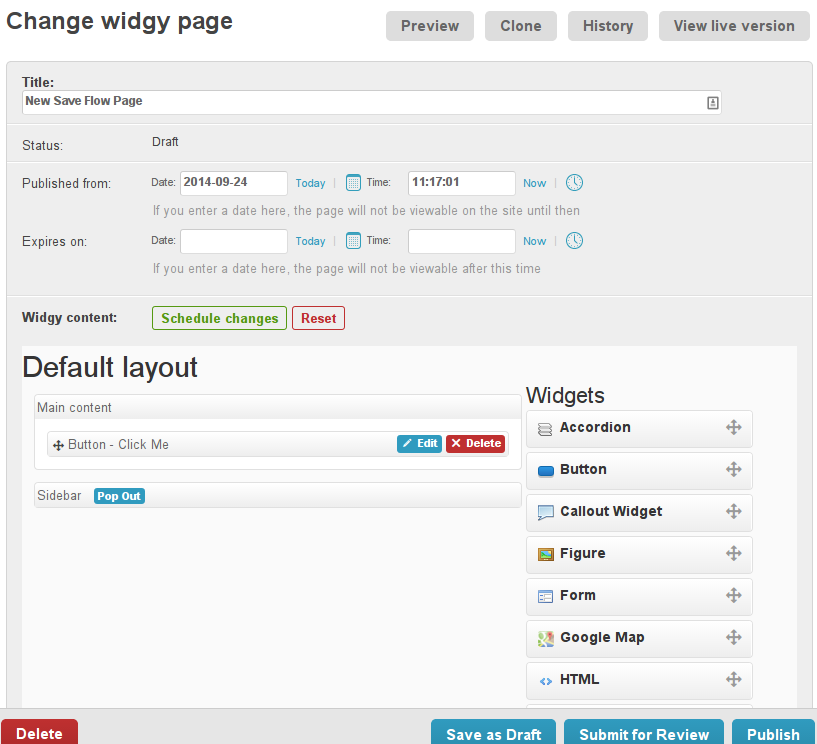 Widgy Page Admin New Save Flow