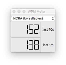 The WPM meter in action