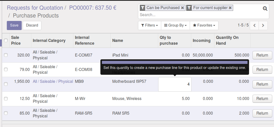 Purchase order Add product