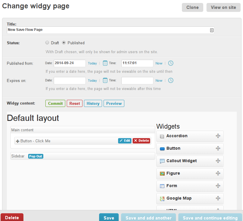 Widgy Page Admin Old Save Flow