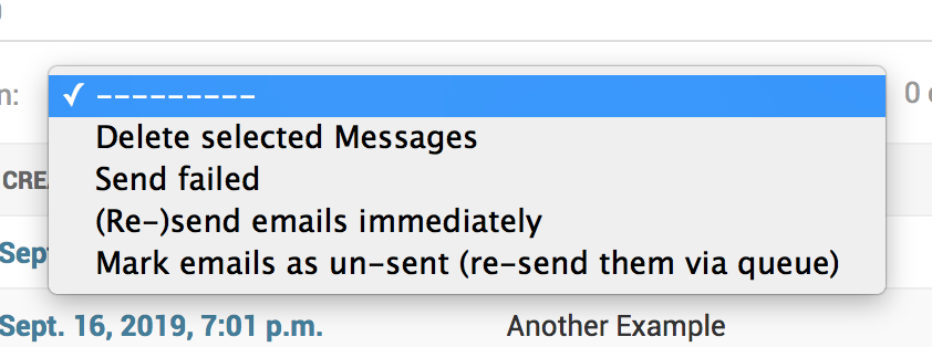 Screenshot of Email Actions