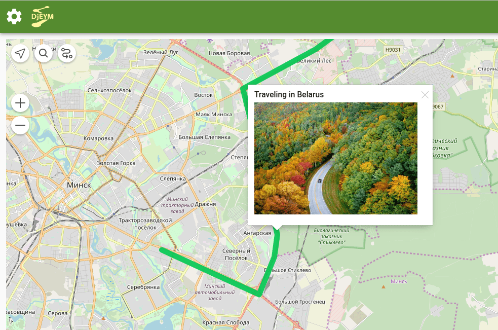 Example of the route