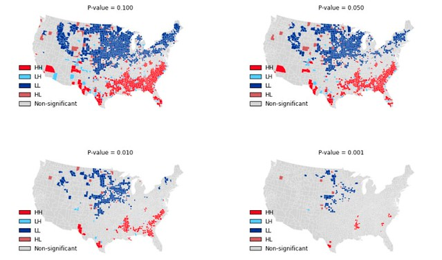 LISA Maps of US County Homicide Rates