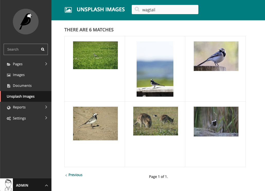 Screenshot showing wagtail-unsplash search results