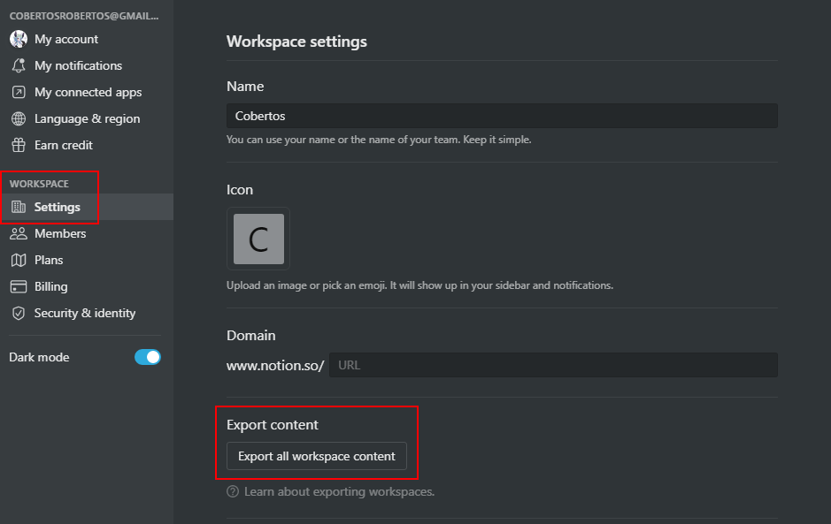 Notion export menu for where to export workspace