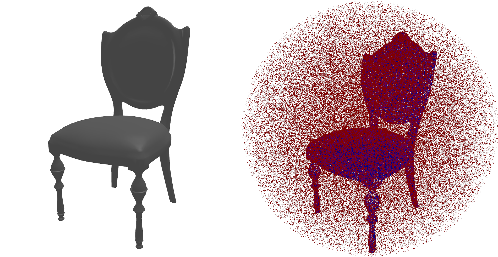 Example of a mesh and a point cloud of non-uniformly sampled SDF points
