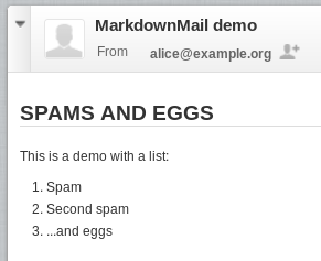 E-mail rendering for the user (HTML part)