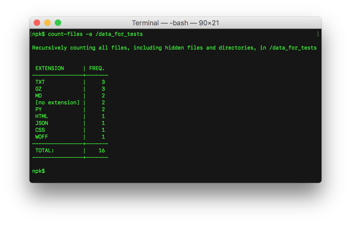 Count Files_screenshot - counting files by extension