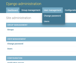 Ordered dashboard with dropdown menu.