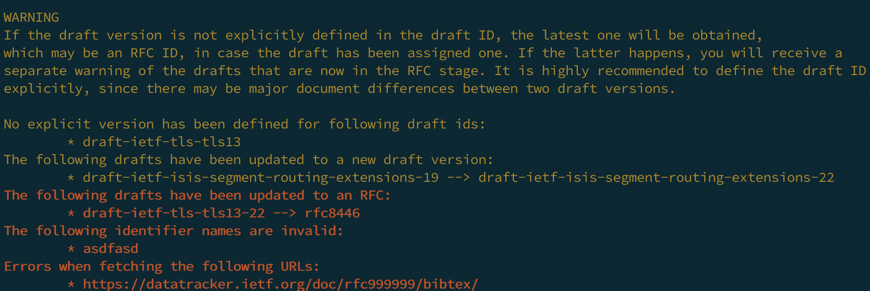 RFCBibTex Errors and Warnings Example